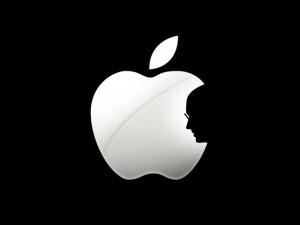 Apple Logo With Steve Jobs' Sillhouette